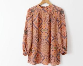 vintage 70s boho blouse, Rene Kasmet California print top