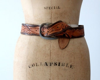 "vintage tooled leather belt ""JAN"""