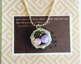 Inspirational wire birds nest pendant
