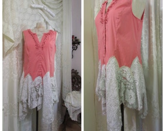 Refashioned Shabby Top, pink coral sleeveless blouse, vintage lace, altered couture romantic feminine, shabby Womens Clothing, LARGE