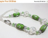 ON SALE Lime Green Kashmiri Bead Necklace, With Chain N1286