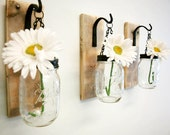Individual Hanging Mason Jar Wall Decor mounted to wood base with wrought iron hooks