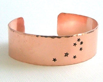 Seven Sisters Constellation Cuff Bracelet - The Pleiades - Hand Stamped Copper