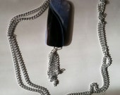 NEW GIFT IDEAS - Banded Blue Quartz and Black Onyx Necklace