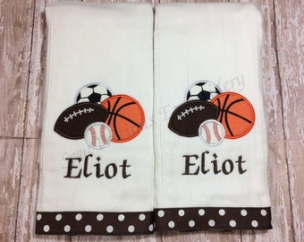 Personalized Baby Boy or Girl Gift Set - 2 Burp Cloths - Select your favorite Sport or Applique Design