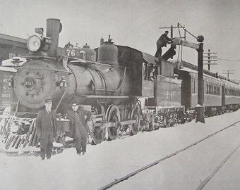 Vintage Train Print Locomotive Engine Print Black and White Calendar Print 1970s Framed Print Glass Fronts
