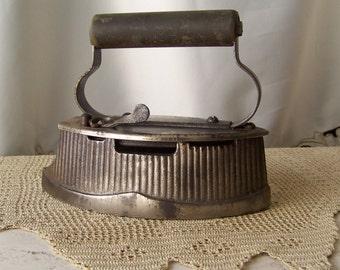Antique Gas Powered Clothes Iron Improved Easy Iron Foote Mfg Co Iron Wood Handle Primitive Iron Steam Iron Grandmas Iron Circa 1910s