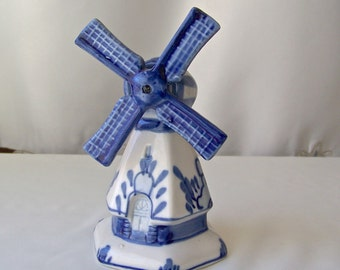 Vintage Holland Delft Blue Pottery  Windmill Figurine Hand Painted Blue Delft 1970s