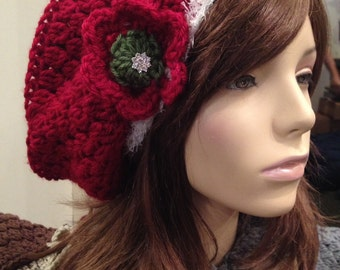 Christmas Slouchy Red Beret with Flower and Vintage