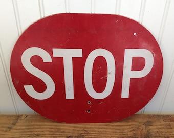 Vintage Crossing Guard Stop Sign Red Stop Sign - Orange Slow Sign