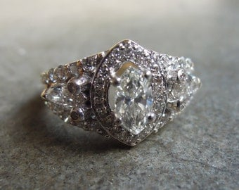SALE Vintage 1.41 Carat Diamond Marquise Center Solid 14k Yellow Gold Ring Size 6 1/4