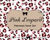 PINK LEOPARD Etsy Shop Premade Banner set