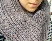 Cozy Crochet Infinity Scarf / Iris Heather Purple Scarf / Ribbed Merino Wool Scarf / Handmade Scarf Cowl / Ready to Ship