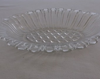 Vintage Pressed Glass Serving Dish, Oval Relish Tray or Dish, Scalloped Edge
