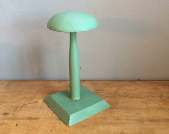 Vintage Wood Fashion Hat Stand 1940s Green