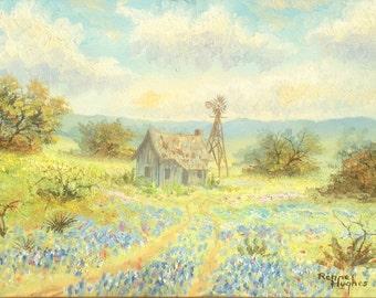 Original Renne Hughes Texas oil painting Landscape Blue bonnets Farm House Windmill Texas Hill Country Original Artwork