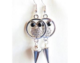 Owl Spike Silver Earrings