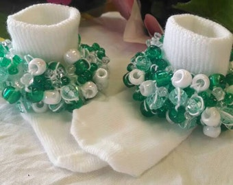 """Available In All Sizes! Rag Tag Creations -  """"Green With Envy"""" ~ Beaded Socks For Girls."""