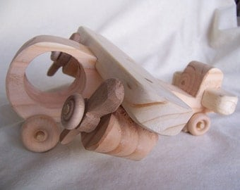 Toy Airplane, Twin Engine, Propeller Driven, Handcrafted from Reclaimed Wood