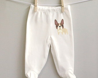 Baby pants, French Bulldog baby pants, baby boy pants, baby girl pants, footed baby pants