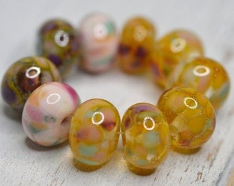 spring multicolored....SRA handmade, pink, topaz, yellow black and gold lampwork bead set of 10 beads for making jewelry 62116-4