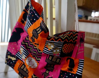 Halloween trick or treat bag, haunted house tote bag
