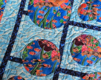 "Baby Quilt entitled ""The Aquarium"""