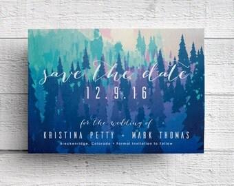 Winter Wedding Save the Date Card, Wedding Save the Date, Mountain Wedding, Colorado, Alaska, Oregon, Utah, Rustic Wedding, Printable