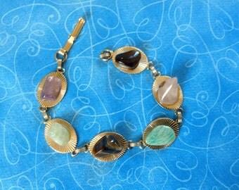 Mounted gem bracelet, gem stone bracelet,  vintage gem bracelet