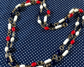 Vintage beaded necklace, red white blue, Hong Kong necklace