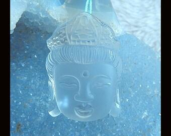 New,Carved Natural White Quartz Buddha Head Pendant Bead,37x26x13mm,22.4g