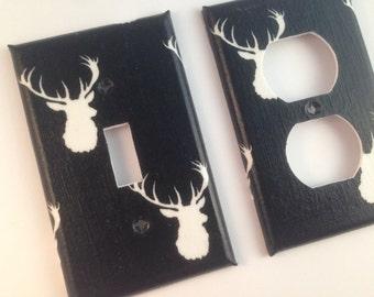 Deer Light Switch Cover / Black White Nursery Decor / Black White Decor/ Navy Home Decor / Antler Decor / Man Cave Decor / Deer Decor
