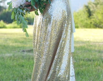 Starlight Champagne Maxi Skirt // Gold Sequin Maxi Skirt // Bridesmaid Matte Gold Sequin Floor Length Holiday Skirt by Petrichor