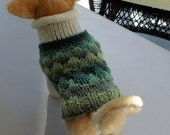 Dog Sweater Hand Knit Ocean Waves X Small 11 inches long Merino Wool