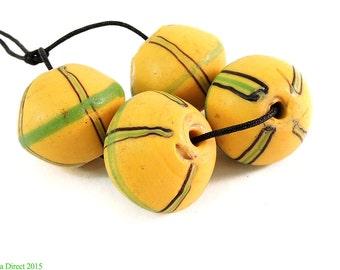 4 King Venetian Trade Beads Yellow Biconal Africa 98411