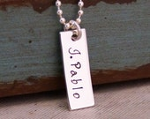 Small Vertical Tag Necklace / Bar Necklace / Hand Stamped Personalized Mommy Jewelry / Short name up to 7 letters