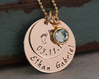 New Mom Personalized Necklace / Hand Stamped Mommy Necklace- 14K Gold Filled Jewelry / My Baby Info Necklace
