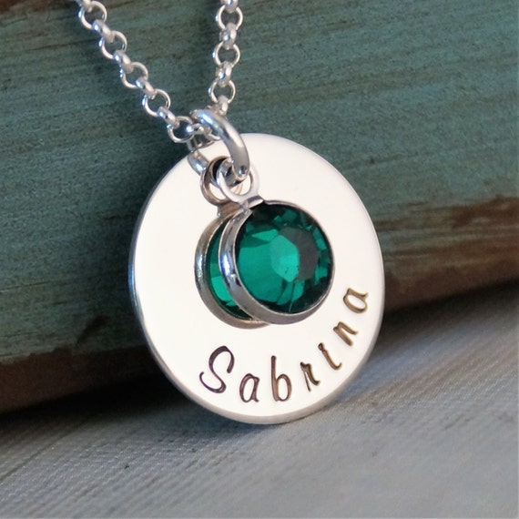 Name tag necklace / Personalized Jewelry / Hand Stamped Mommy Necklace / Sterling Silver