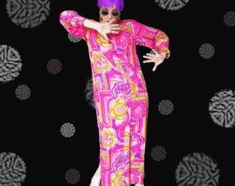 1960s Psychedelic Robe - Vintage 60s Flower Power Hot Pink Long Dressing Gown