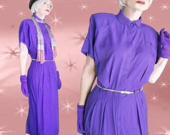 80s Rayon Dress - Iconic Vintage VERY PURPLE Office Dress - Power Shoulders - Pencil Skirt & 80s Metal Stretch Belt