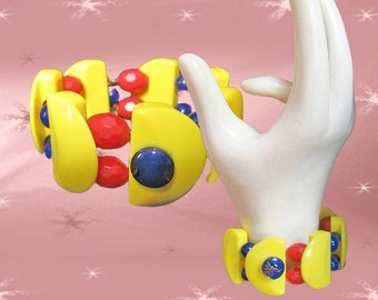 Retro Clamper Bangle Bracelet - OOAK  Made with Vintage Red Blue Yellow Plastics