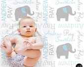 Elephant Name Blanket in Blue and gray, Boy, personalized blanket, custom blanket, baby blanket, personalized blanket, choose colors
