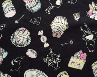 SALE Alice in wonderland sweets print fabric Black colour One yard
