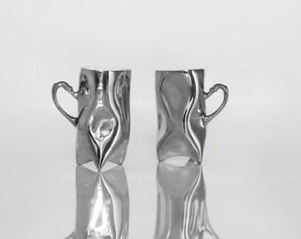 Platinum porcelain cups - silver ceramic mugs for coffee or tea, luxurious handmade gift