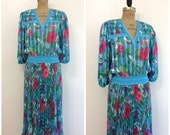 Vintage 1980s Diane Freis Dress 80s Gypsy Boho Dress