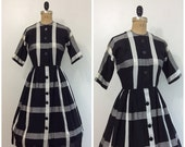SALE 1950s Black and White Plaid Dress 50s Button Down Shirtwaist