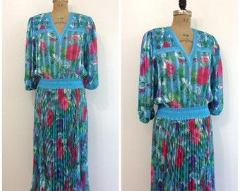 Vintage 1980s Diane Freis Dress 80s Gypsy Boho Dress
