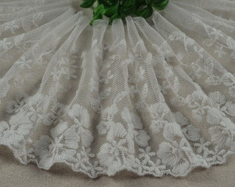 "10 yard 12cm 4.72"" wide ivory mesh tulle gauze fabric embroidered tapes lace trim ribbon 1261 free ship"