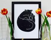 ON SALE Sleeping Cat Print
