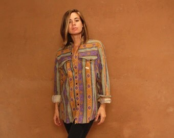vintage IKAT southwest wild BAROQUE versace style shirt long sleeve shirt top